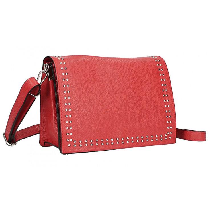 Kožená kabelka s cvokmi MI206 Made in Italy červená