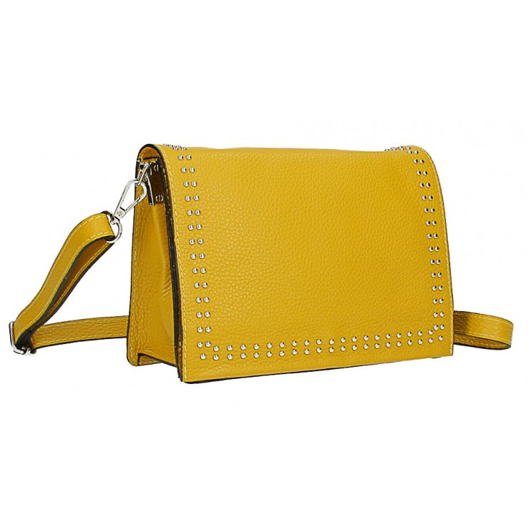 Leather Handbag MI206 Made in Italy mustard