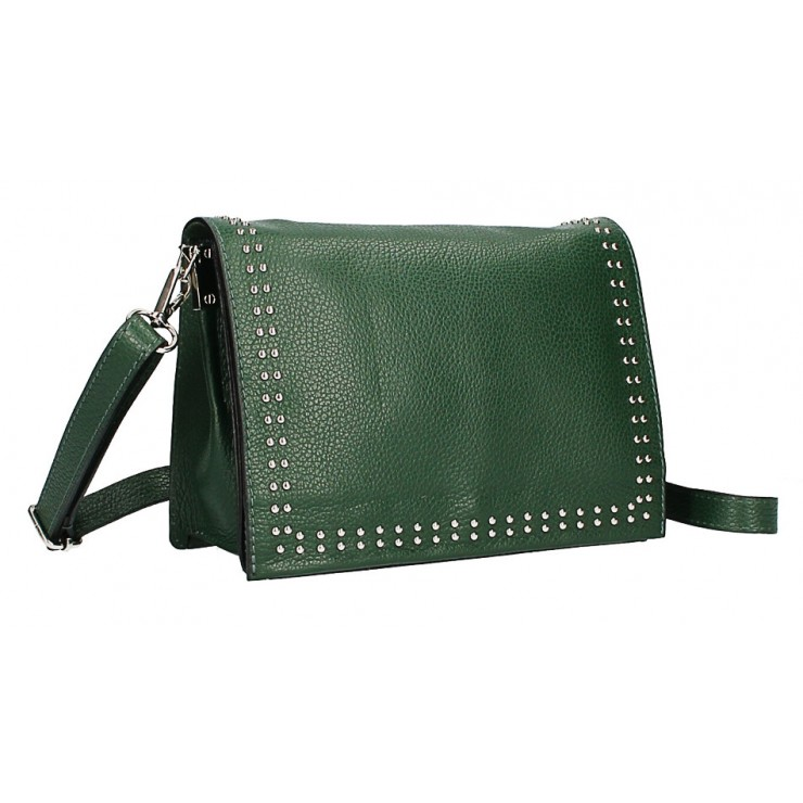 Leather Handbag MI206 Made in Italy dark green
