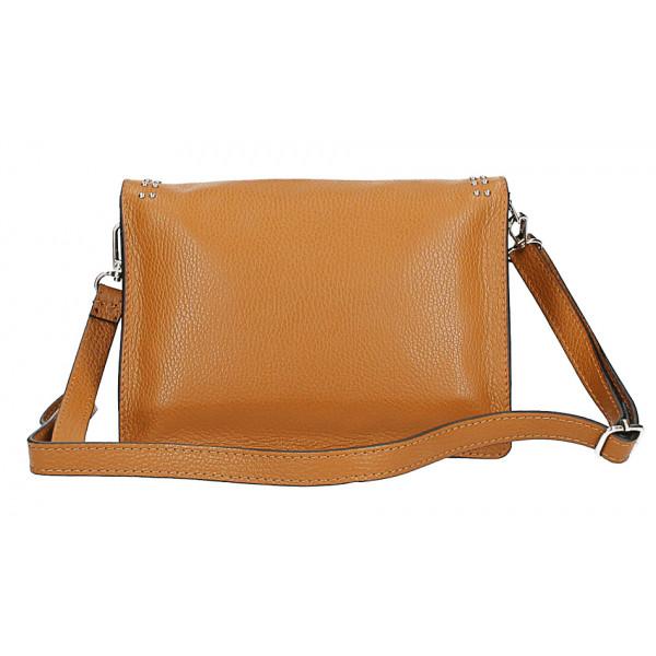 Kožená kabelka s cvokmi MI206 Made in Italy tmavozelená