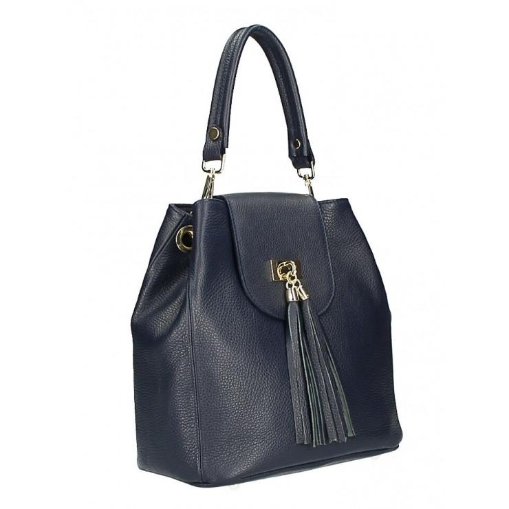 Kožená kabelka MI191 Made in Italy tmavomodrá