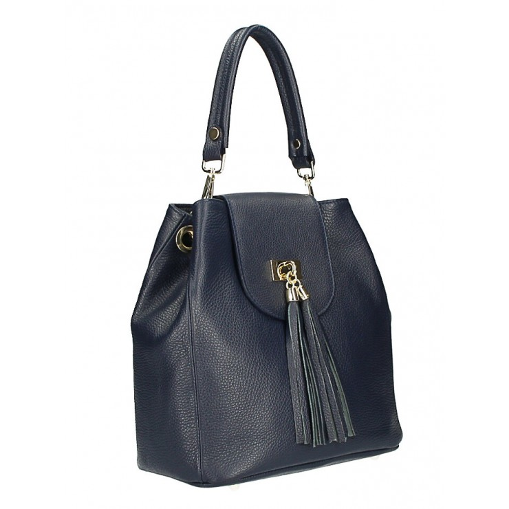 Woman Leather Handbag MI191 Made in Italy dark blue