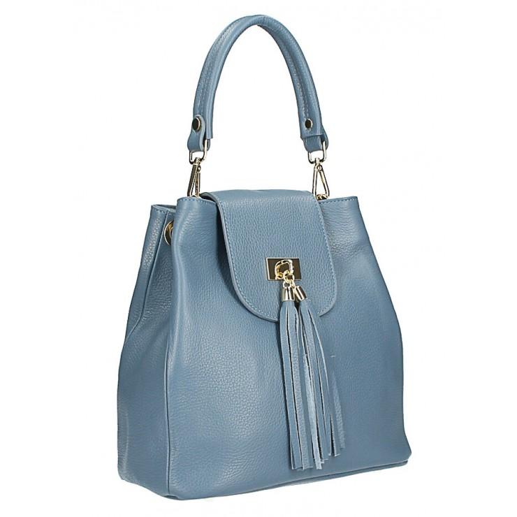 Kožená kabelka MI191 Made in Italy nebesky modrá