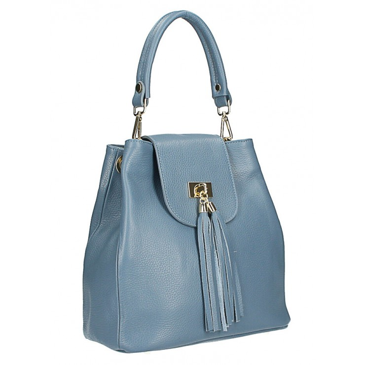 Woman Leather Handbag MI191 Made in Italy light blue