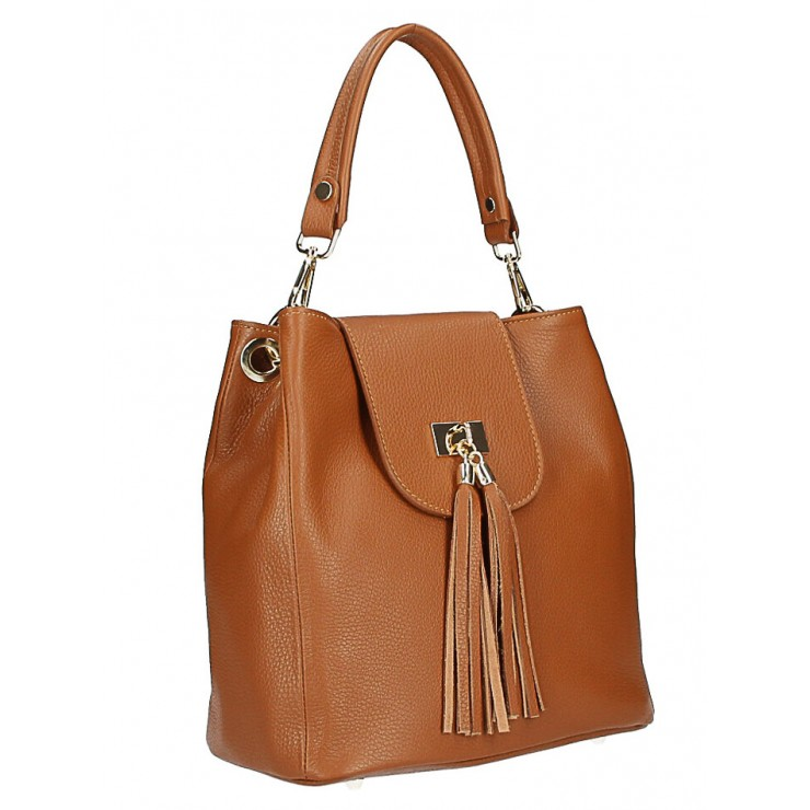 Woman Leather Handbag MI191 Made in Italy cognac