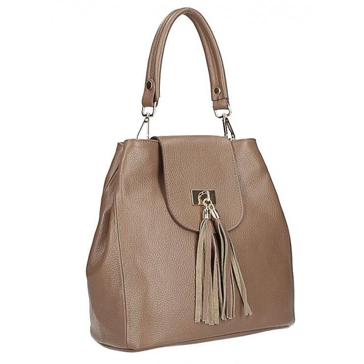Kožená kabelka MI191 Made in Italy tmavá šedohnedá