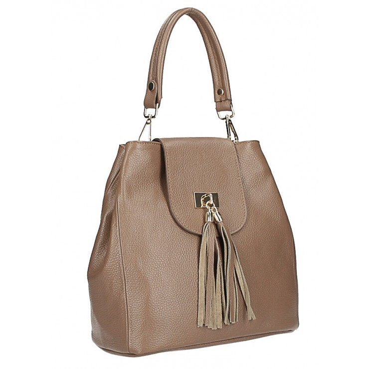 Woman Leather Handbag MI191 Made in Italy dark taupe