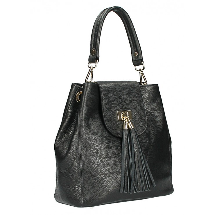 Woman Leather Handbag MI191 Made in Italy black