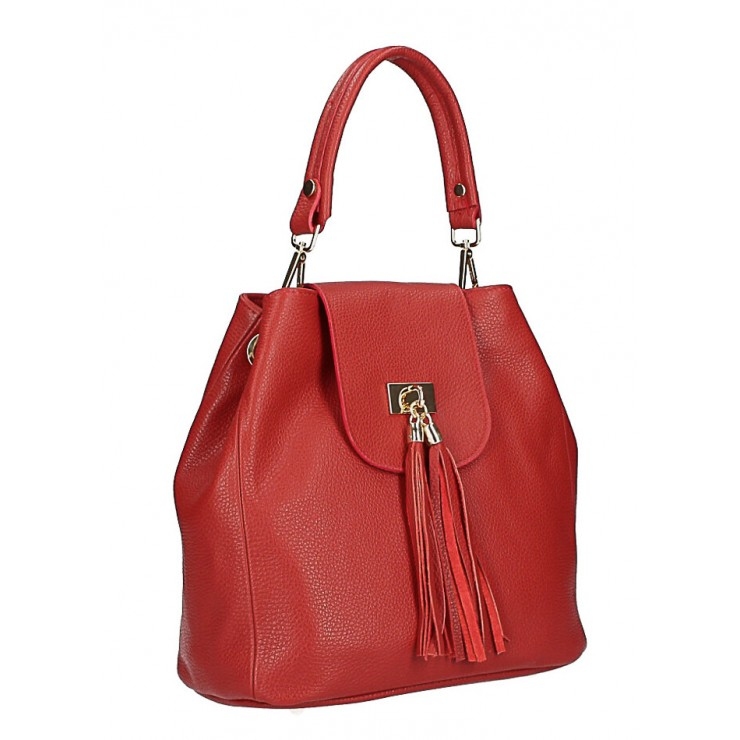 Kožená kabelka MI191 Made in Italy červená