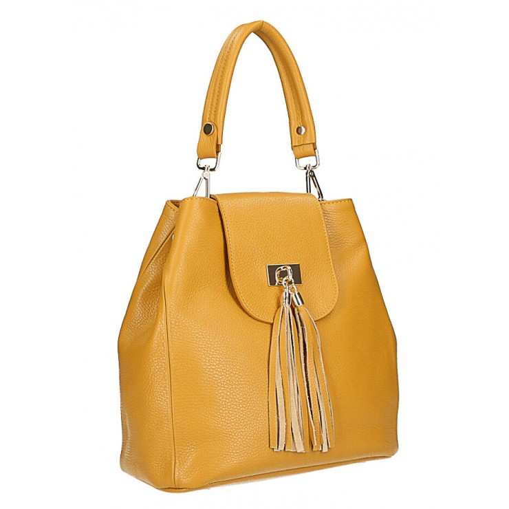 Woman Leather Handbag MI191 Made in Italy mustard