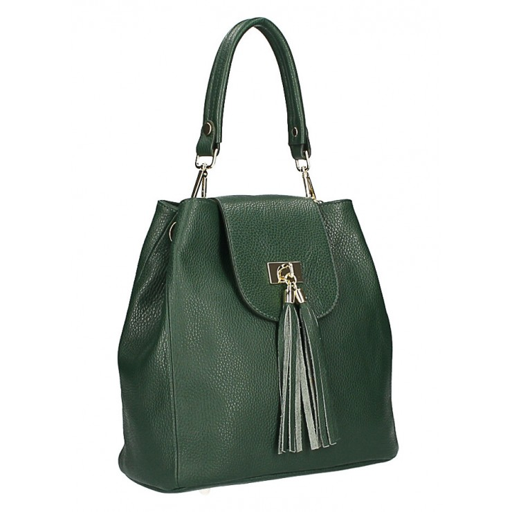 Woman Leather Handbag MI191 Made in Italy dark green