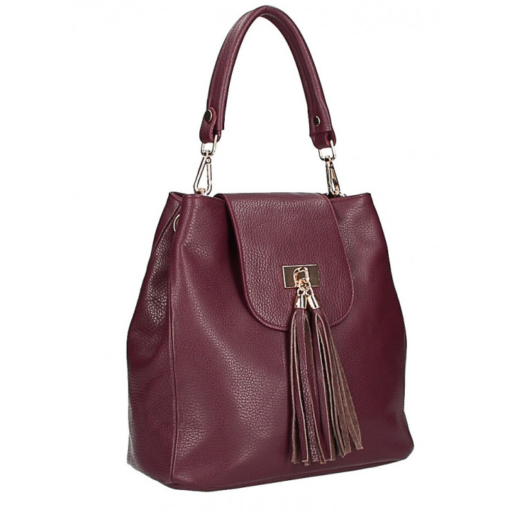 Woman Leather Handbag MI191 Made in Italy bordeaux