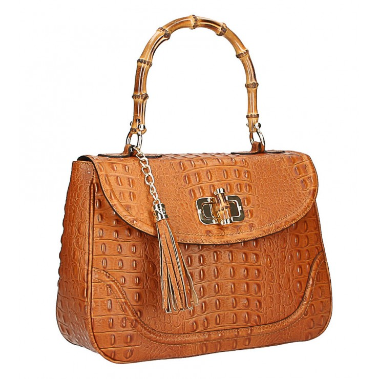Crocodile stamp handbag MI192 Made in Italy cognac