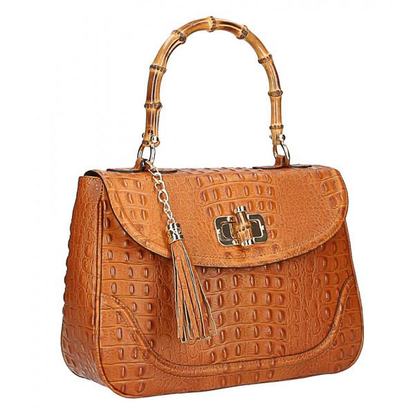 attraktive Designs erstaunliche Qualität niedrigster Rabatt Leder Handtasche Krokodildruck MI192 Made in Italy cognac - MONDO ITALIA  s.r.o.