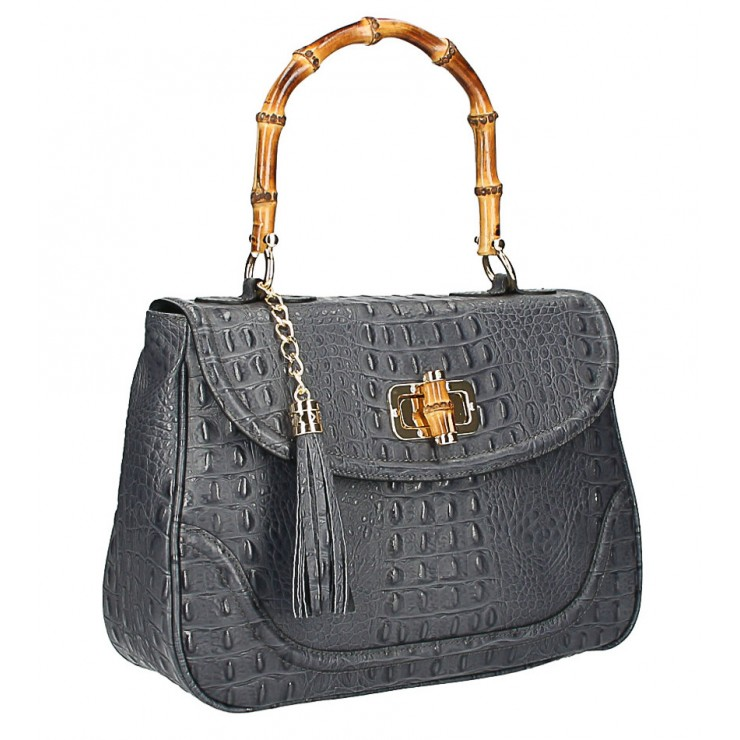 Crocodile stamp handbag MI192 Made in Italy dark gray
