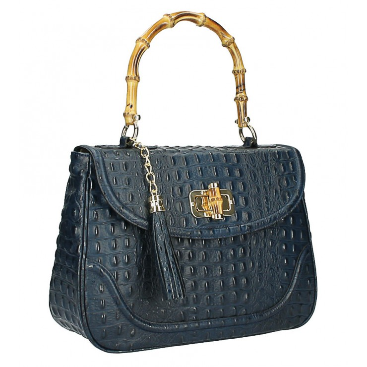 Crocodile stamp handbag MI192 Made in Italy blue