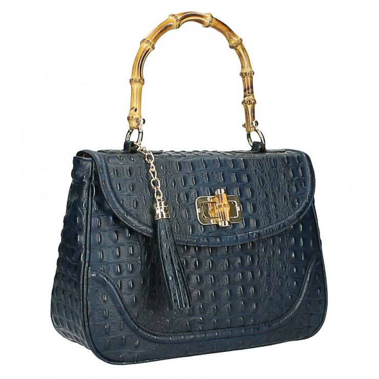 Kožená kabelka potlač krokodýl MI192 Made in Italy modrá