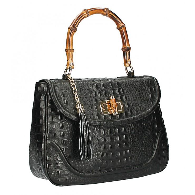 Kožená kabelka potlač krokodýl MI192 Made in Italy čierna