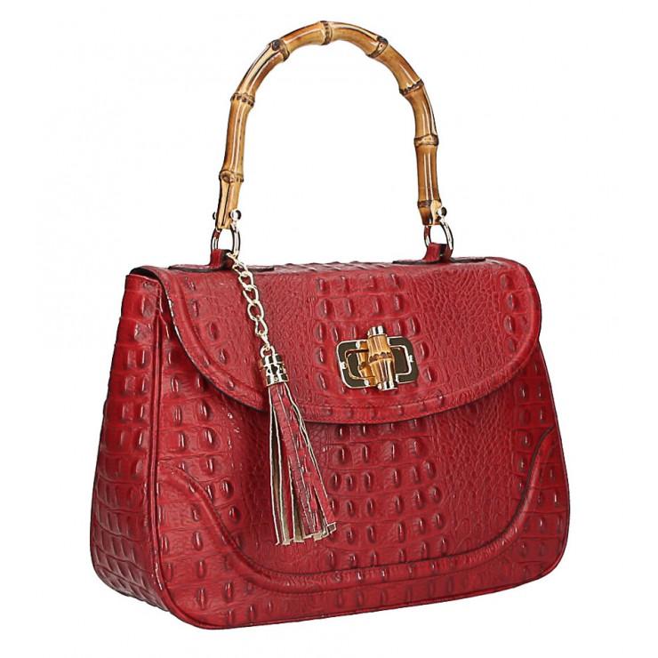 Kožená kabelka potlač krokodýl MI192 Made in Italy červená