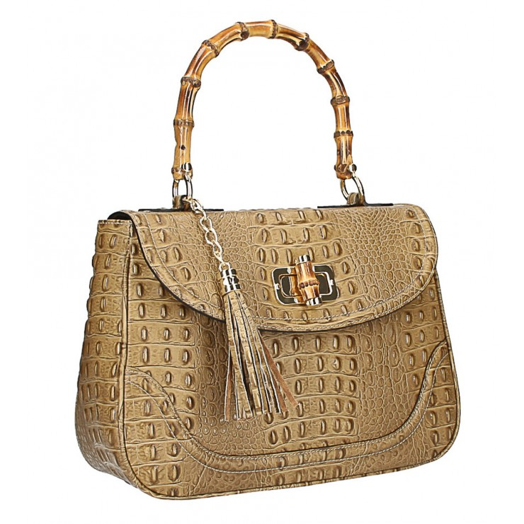 Crocodile stamp handbag MI192 Made in Italy taupe