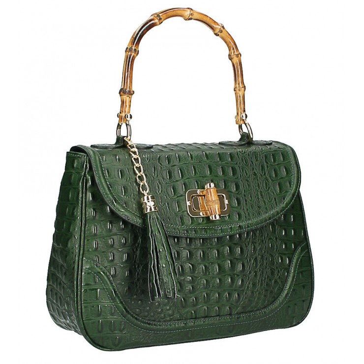 Crocodile stamp handbag MI192 Made in Italy dark green