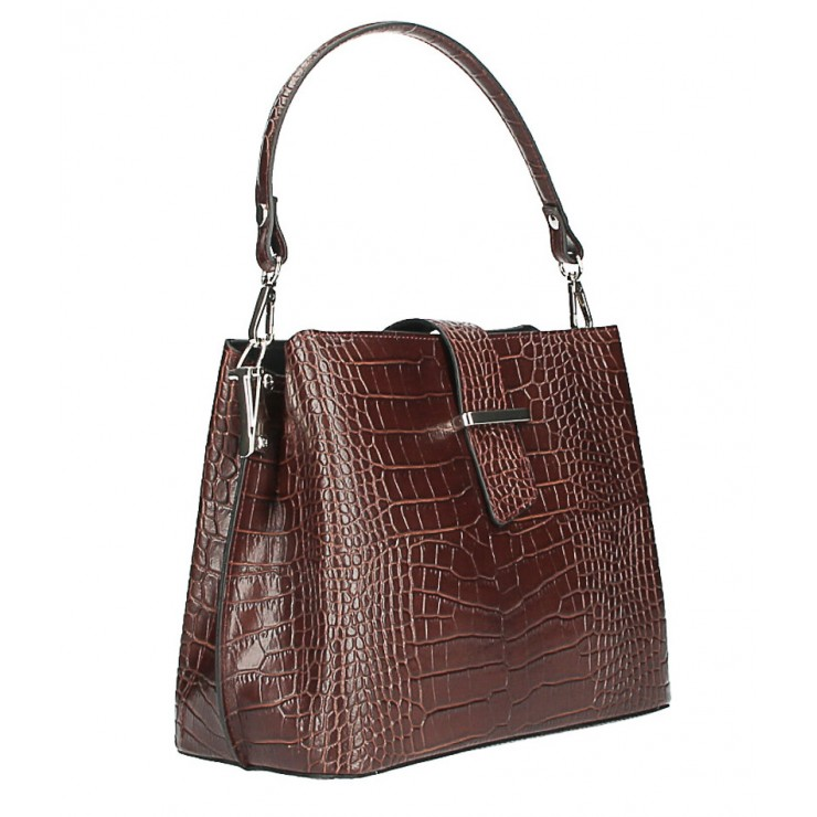 Leather Handbag Crocco Stamp MI218 Made in Italy brown