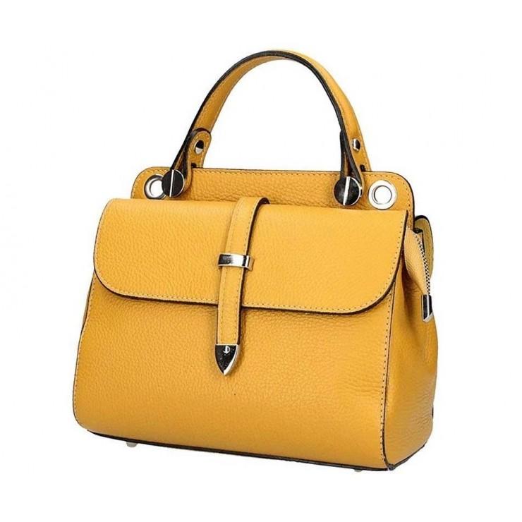 Genuine Leather Handbag 5315 mustard