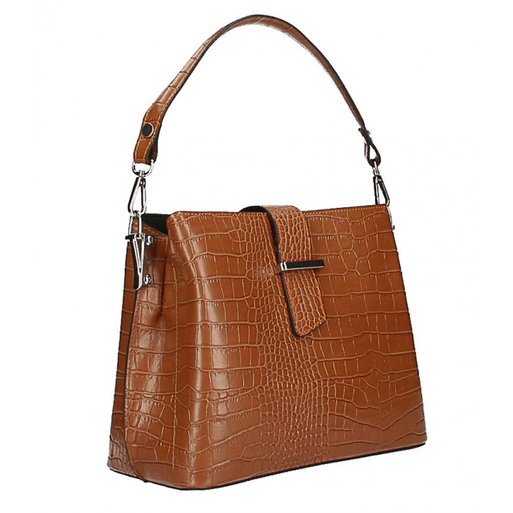 Leather Handbag Crocco Stamp MI218 Made in Italy cognac