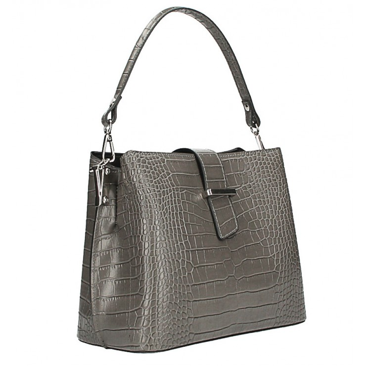 Leather Handbag Crocco Stamp MI218 Made in Italy dark gray