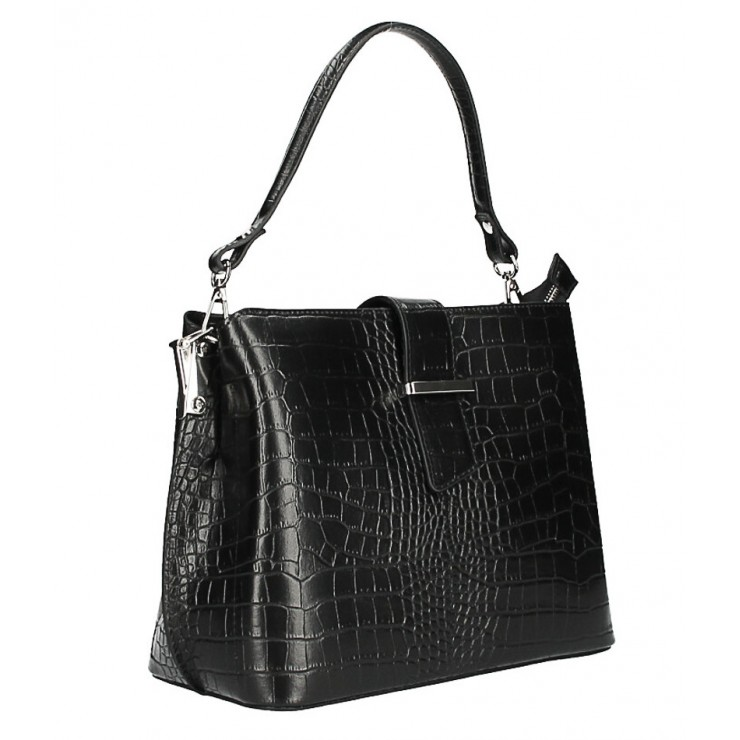 Leather Handbag Crocco Stamp MI218 Made in Italy black