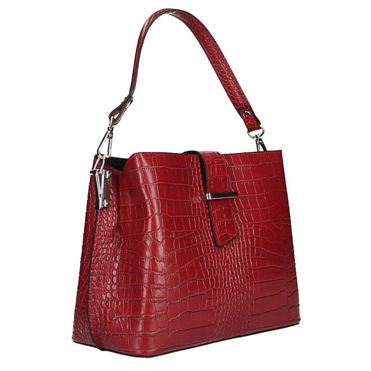 Leather Handbag Crocco Stamp MI218 Made in Italy red
