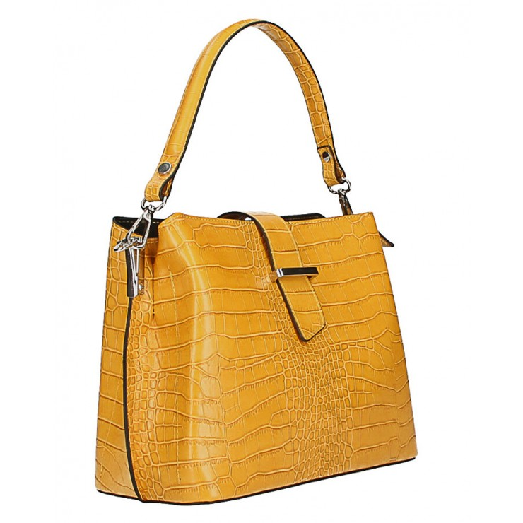 Leather Handbag Crocco Stamp MI218 Made in Italy mustard
