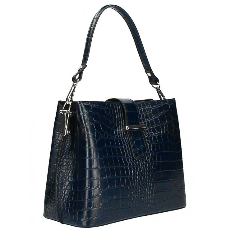 Leather Handbag Crocco Stamp MI218 Made in Italy dark blue