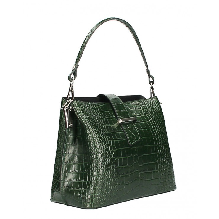 Leather Handbag Crocco Stamp MI218 Made in Italy dark green