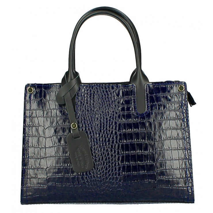 Genuine Leather Handbag MI193 Made in Italy dark blue