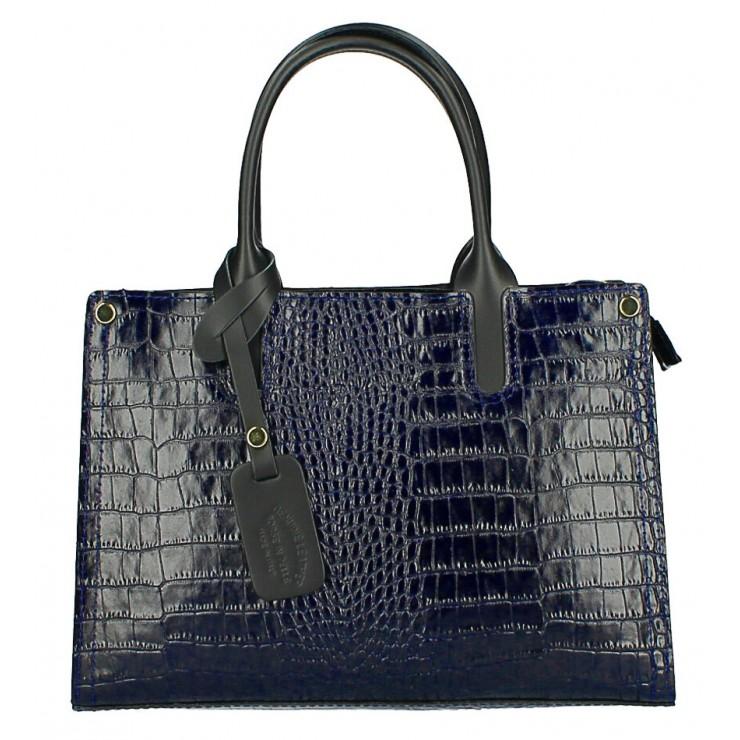 Kožená business kabelka MI193 Made in Italy tmavě modrá