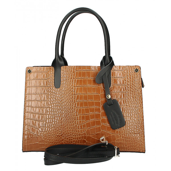 Kožená business kabelka MI193 Made in Italy tmavomodrá