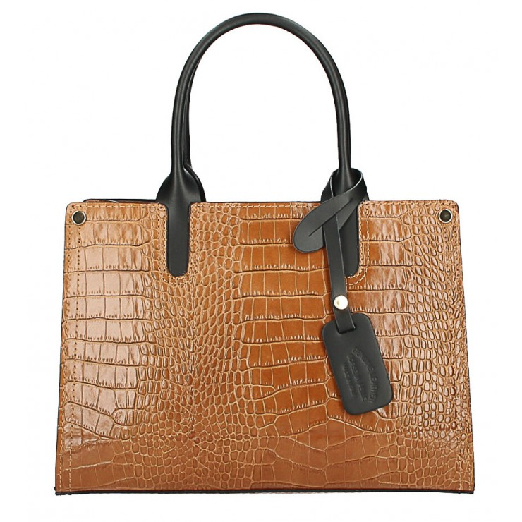 Genuine Leather Handbag MI193 Made in Italy cognac