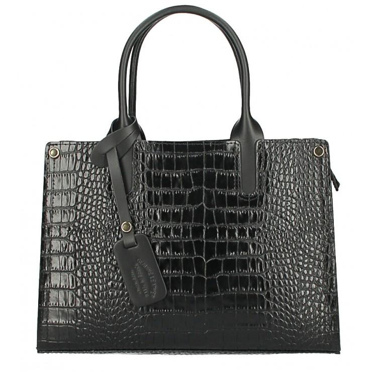 Kožená business kabelka MI193 Made in Italy černá