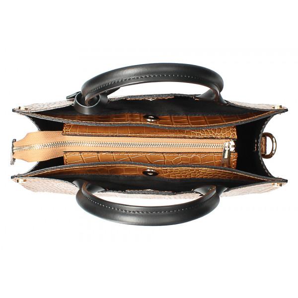 Kožená business kabelka MI193 Made in Italy čierna