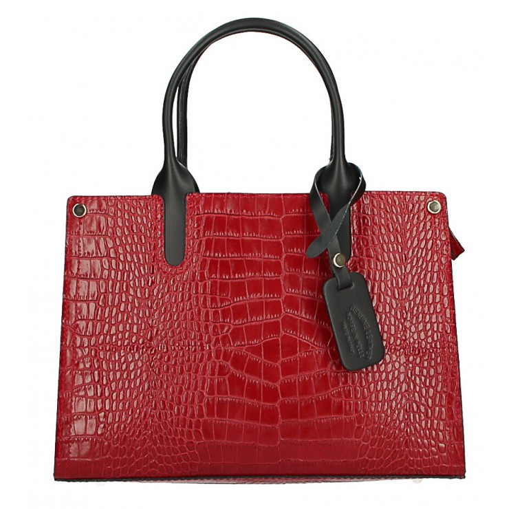 Genuine Leather Handbag MI193 Made in Italy red