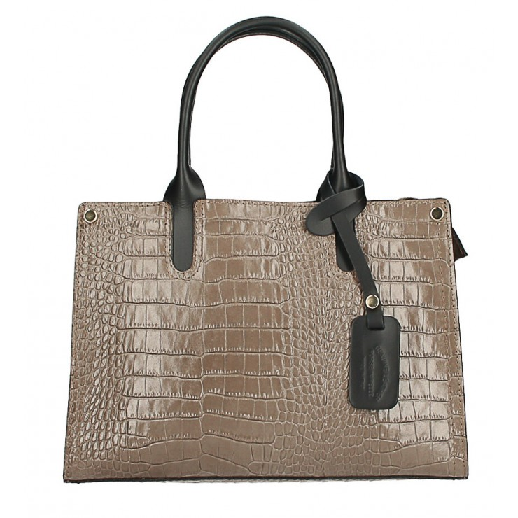 Genuine Leather Handbag MI193 Made in Italy taupe