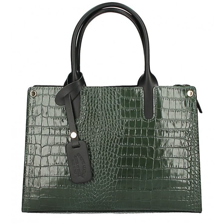 Genuine Leather Handbag MI193 Made in Italy dark green
