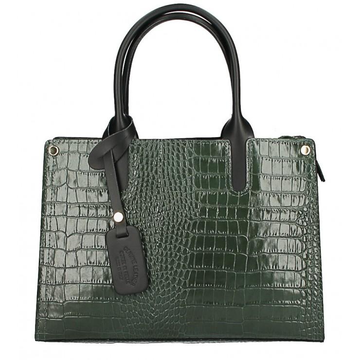 Genuine Leather Handbag MI193 Made in Italy dark green