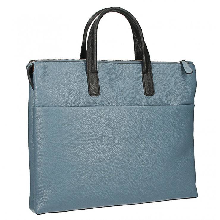 Leather Workbag MI208 Made in Italy light blue + nero