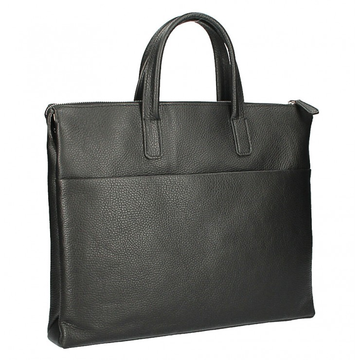 Leather Workbag MI208 Made in Italy black