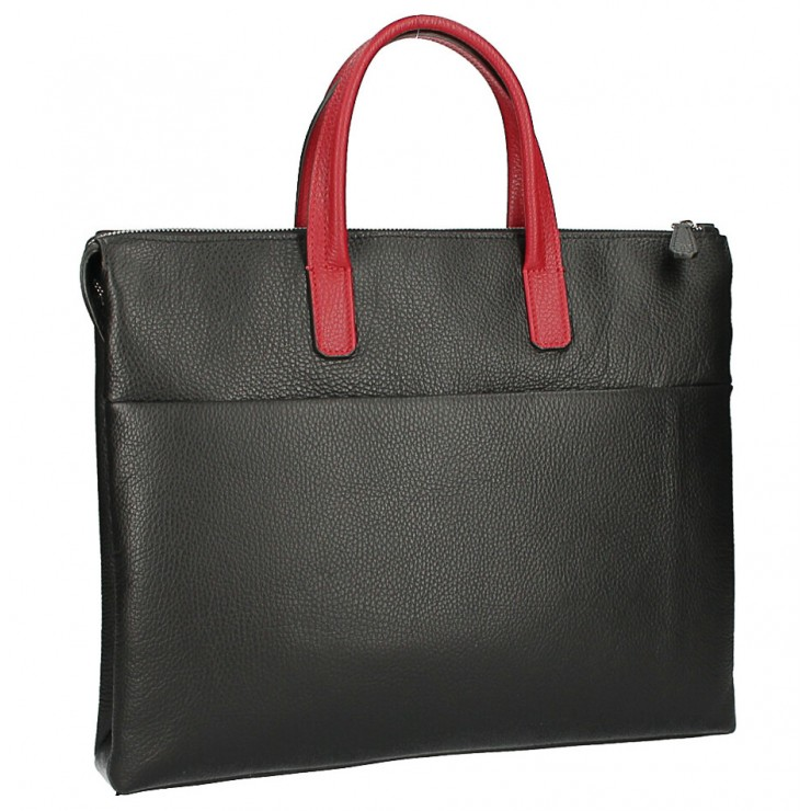 Leather Workbag MI208 Made in Italy black + red