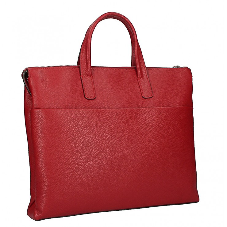 Leather Workbag MI208 Made in Italy red