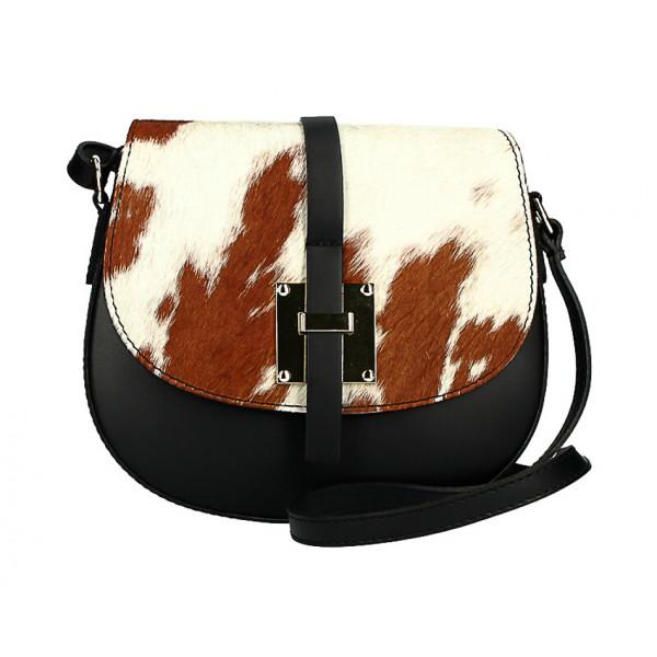 Kožená kabelka s poklopom zo srsti MI209 Made in Italy béžová + hnedá
