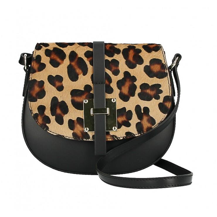 Kožená kabelka s poklopem ze srsti MI209 Made in Italy leopard